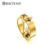 Baoyan Thời Trang Cỏ Ba Lá Nhẫn Hoa Tình Yêu Gothic LỜI HỨA Cưới Đính Đá Vàng/Bạc Thép Không Gỉ Ngón Tay Cho Nữ, Nhẫn Nữ