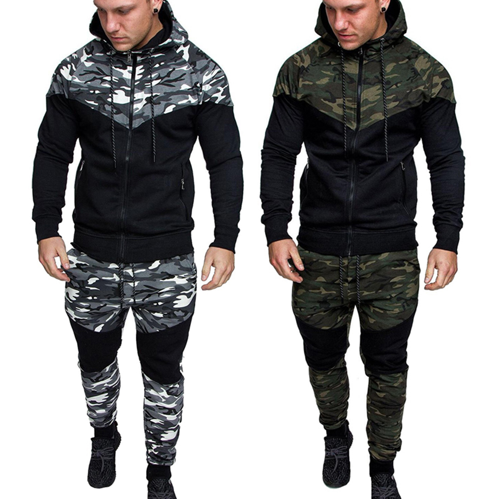 Men Tracksuit Sport  2PCS Set Spring  Sportswear Tops And Pant Camo Zipper Tops Camouflage Patchwork Trousers D30