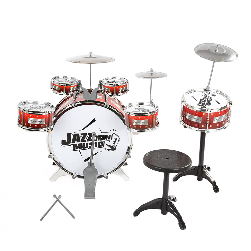 Children Drum Musical Toy Instruments with Cymbals Stool Play Game Music Interest Development For Kids Christmas Birthday Gift - 2