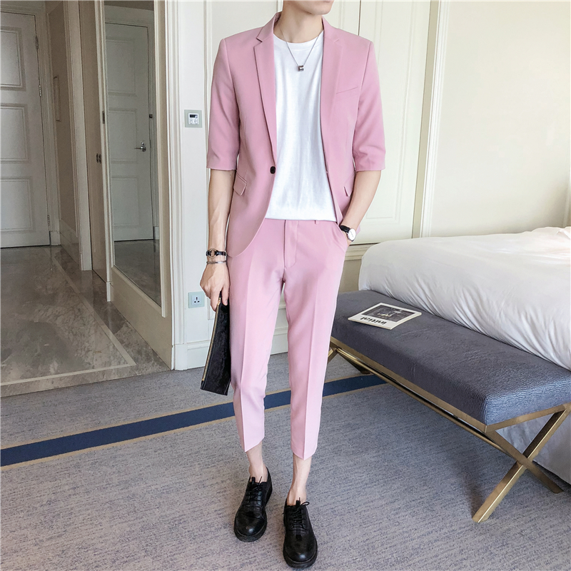 Slim Suit Social Spring Two-Piece Business Solid-Color Fashion Size-S-4xl Summer Casual
