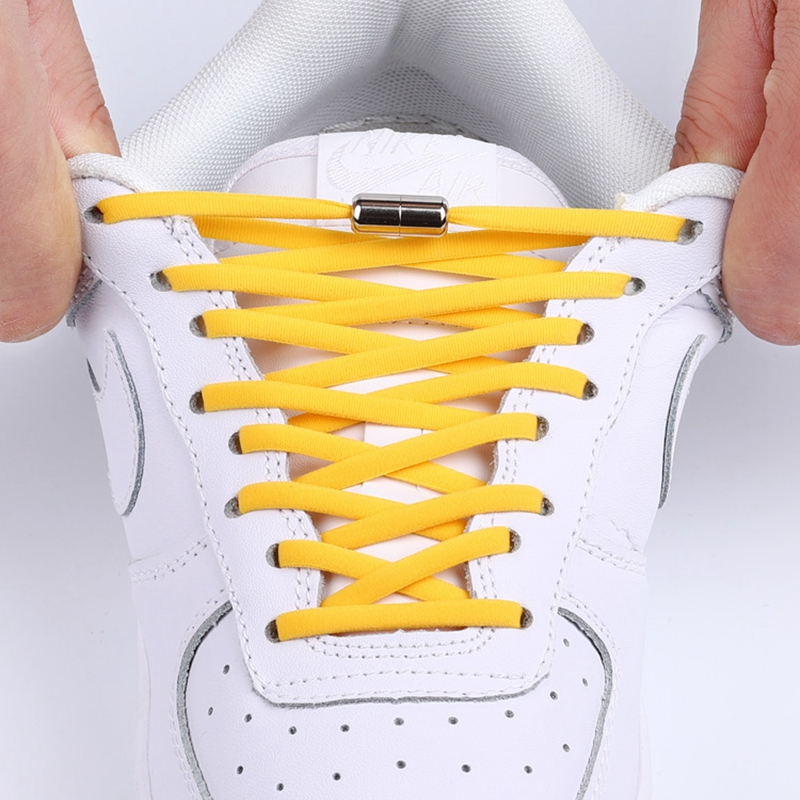 New No Tie Shoelaces Round Metal Locking Elastic Shoelace Suitable For All Kinds Of Shoes Accessories Sneakers Lazy Laces 1 Pair