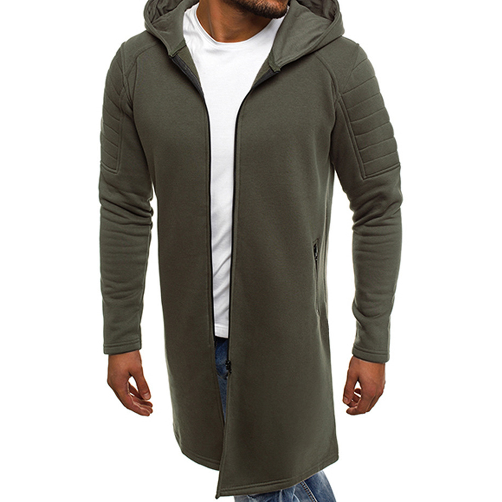 Autumn Winter Men Solid Slim Fit Jacket Zip Up Long Sleeve Hoodie Jackets Army Green Black Gray Male Casual Outwear Long Coats