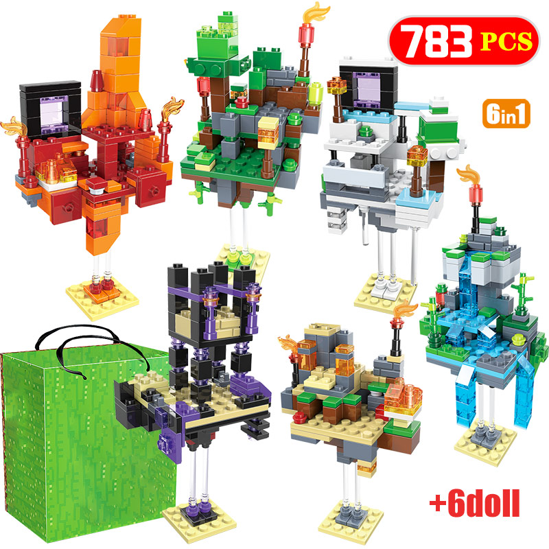 6 IN 1 My World Farm Cottage Village Building Blocks Compatible Legoingly Homes With Figures DIY Toy For Children
