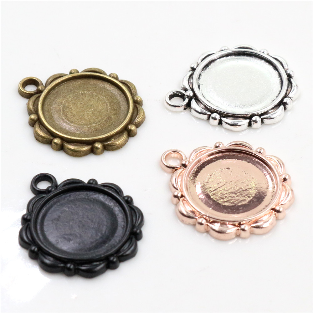 15pcs 14mm Inner Size Antique Bronze Silver Color ,Rose Gold Color Black Cabochon Base Cameo Setting Charms Pendant