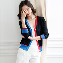 Short Knit Cardigan Contrast Color Stitching V-neck Ice Silk Sweater New Single-Breasted Thin Coat Casual Ladies Knit Cardigan недорого