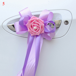 1PC Door Handles Flower Beautiful Wed Party Festival Supplies Rearview Mirror Decorations Wedding Car Decoration Flower 12colors