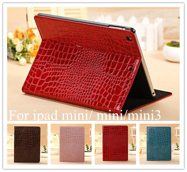 "High Quality Leather Case for iPad Mini 1/2/3 Smart Cover for Apple iPad mini case Mini 2 mini 3 7.9""Slim Crocodile tablet stand"