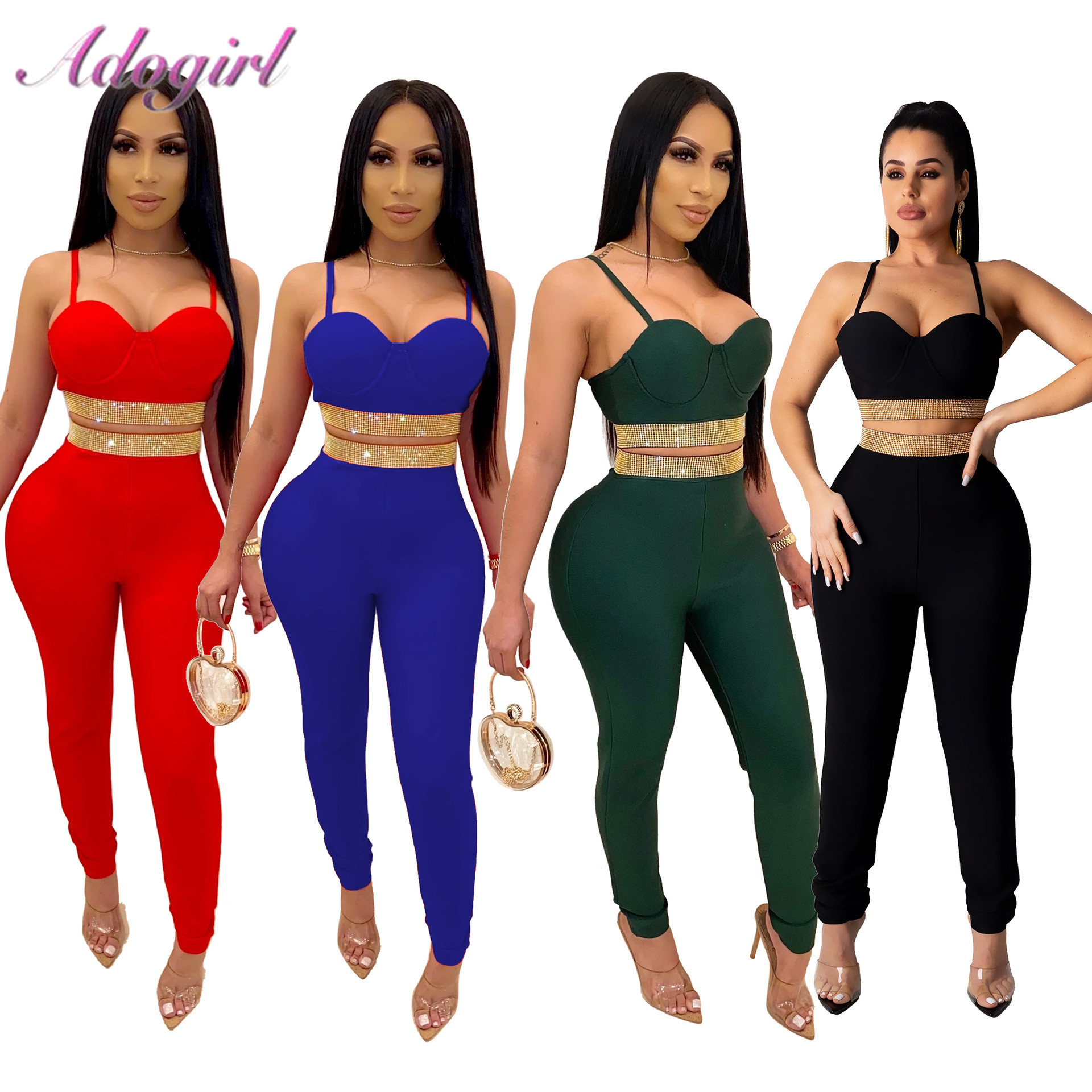 Sexy Diamonds Two Piece Set Women Night Party Club Suit Casual Spaghetti Straps Backless Crop Top Pencil Pants Suit Outfit Set