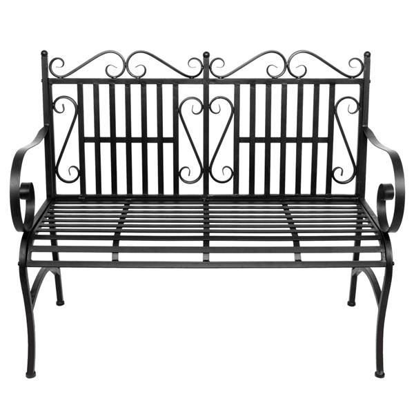 2-Seater Foldable Outdoor Patio Garden Bench Porch Chair Seat With Steel Frame Solid Construction For Parks School Playgrounds