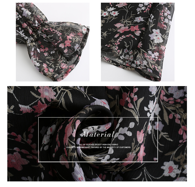 Boho Floral Print Long Sleeve Ruffle Short Dress