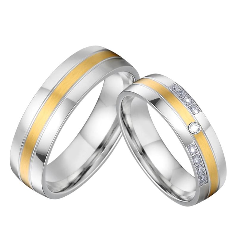 Top qualité hommes et femmes anneaux de mariage pour couple amoureux - Bijoux fantaisie - Photo 6