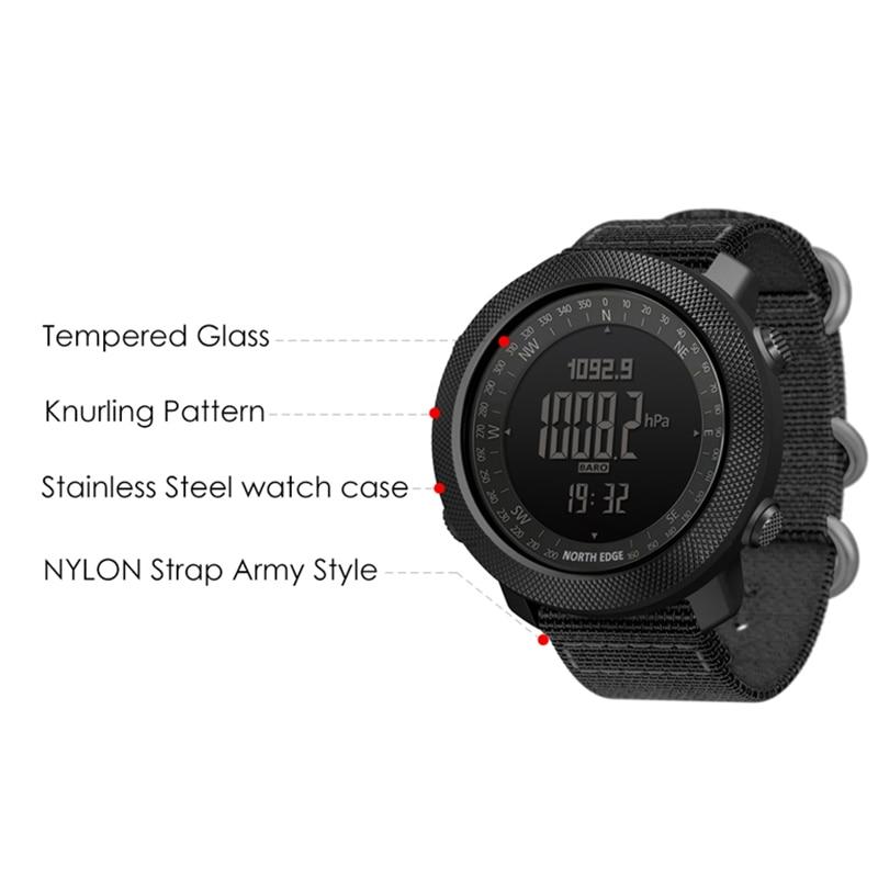North Edge Men Watches Sport Military Digital Watch Barometer Altimeter Clock Men Compass Waterproof Watch Sport Digital Watches