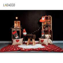 Laeacco Merry Christmas Baby Toy Pillow Teddy Bear Living Room Party Carpet Interior Photo Background Photo Backdrop Photostudio(China)