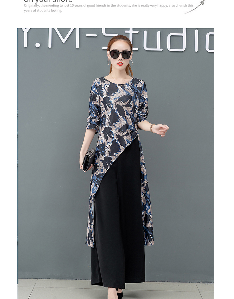 Printed Two Piece Sets Outfits Women Plus Size Splicing Long Tops And Wide Leg Pants Suits Elegant Office Fashion Korean Sets 57