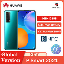 Huawei P Smart 2021 4GB 128GB NFC 48MP Quad Camera 5000 mAh bateria 6.67 bezramowa ekran Carregamento rápido do celular Celular