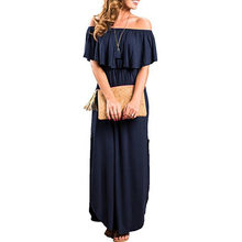 Side Split Pullover Beach Summer Solid Ruffle With Pockets Party Maxi Women Dress Cotton Blend Sexy Pocket Off The Shoulder