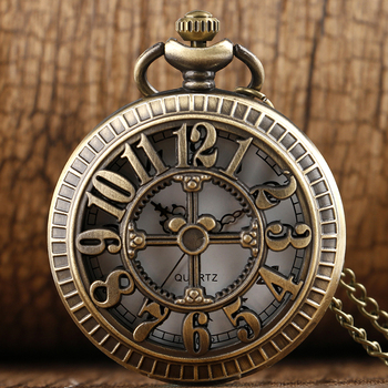 New Steampunk Retro Hollow Pocket Watches Big Numbers Pattern Quartz Pocket Watches With Necklace Chain Gift Mens Womens Boys