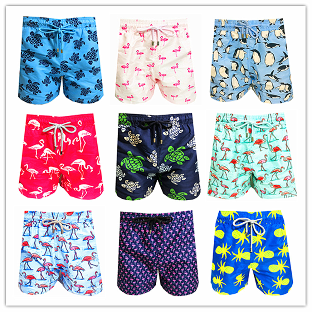 2020 Brand Brevile Pullquin Beach Board Shorts Men Turtles Swimwear Flamingo Penguin Pineapple Man Boardshorts Quick Dry M-XXXL
