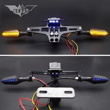 Motorcycle License Frame Bracket With LED Turn Signal Light For honda st 1300 nsr varadero 125 zoomer cb500 xadv forza 300 2019