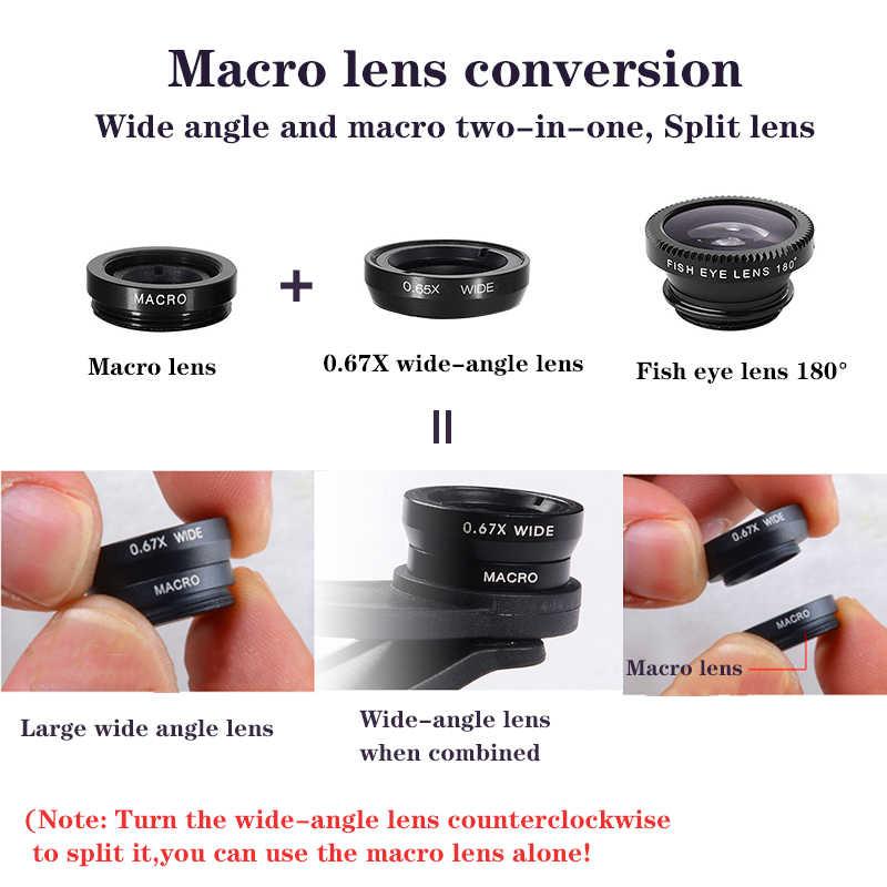 Orsda 電話レンズ魚眼 0.67x 広角ズームレンズ魚眼 6x マクロレンズのカメラクリップ電話スマートフォンすべての携帯電話