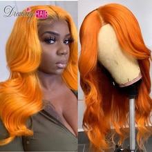 Полностью оранжевые кружевные передние человеческие волосы парики с детскими волосами волнистые предварительно сорванные Омбре цвет бразильские волосы remy парики для женщин