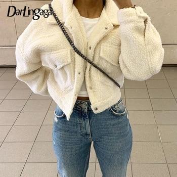 Darlingaga Fashion Lamb Wool Autumn Winter Coat Women Jacket Fleece Shaggy Warm Cropped Jackets Overcoat Single Breasted Outwear