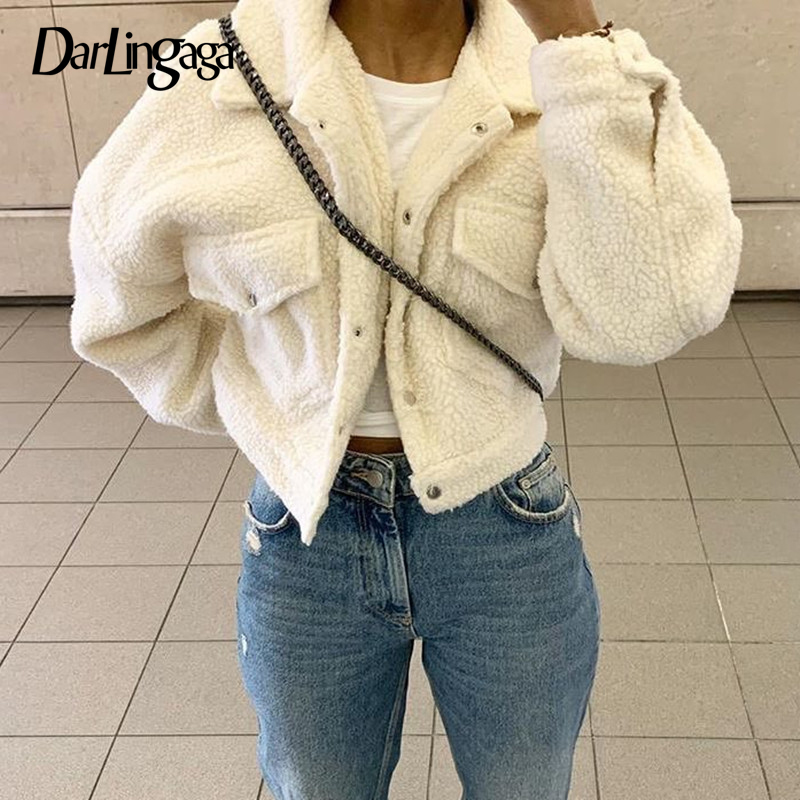 Darlingaga-abrigo de lana de cordero para mujer, chaqueta femenina de lana de cordero, cálido, recortado, ropa de abrigo, no cruzada