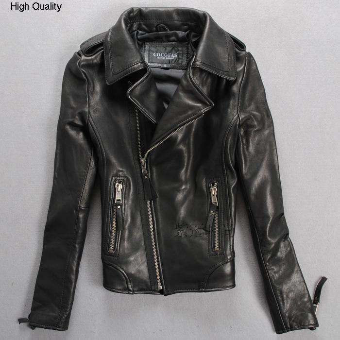 100% Sheepskin Slim Fit Motorcycle Jacket Women Black Lady's Fashion Real Leather Jacket With Zippered Pocket Outerwear Female