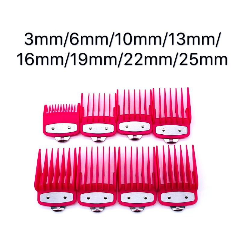 2/8/10PCS Rose Red Limit Comb Barber Shop Styling Guide Comb Hair Trimmer Kit