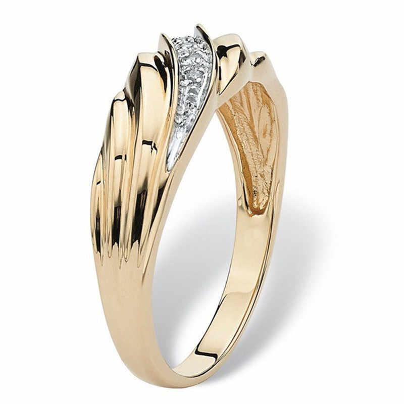 Novo trançado tecelagem anel de ouro masculino luxo elegante pequeno cristal anel de casamento anillos mujer presentes para mulher