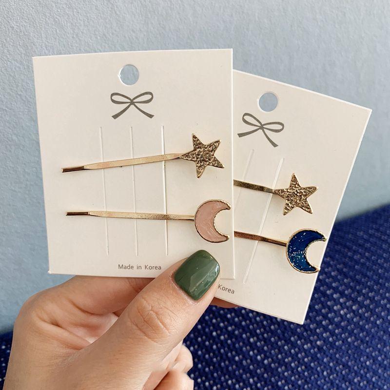 2 шт./компл. простые металлические заколки для волос с матовой Луной и звездами, инструменты для укладки волос в форме розовой, синей Луны, же...