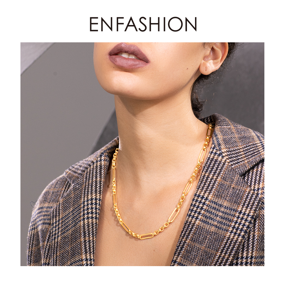 ENFASHION Long Link Chain Choker Necklace Women Gold Color Statement Necklace Lady Fashion Femme Jewelry Dropshipping P193059Chain Necklaces   -