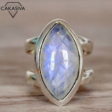 Women's Punk Style Vintage Thai Silver Moonstone Ring Party Birthday Gift Jewelry Ring