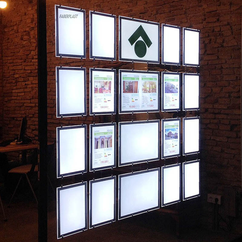 (Pack/12units) A3 Single Sided Estate Agent LED Window Light Box Supplier Interior Displays