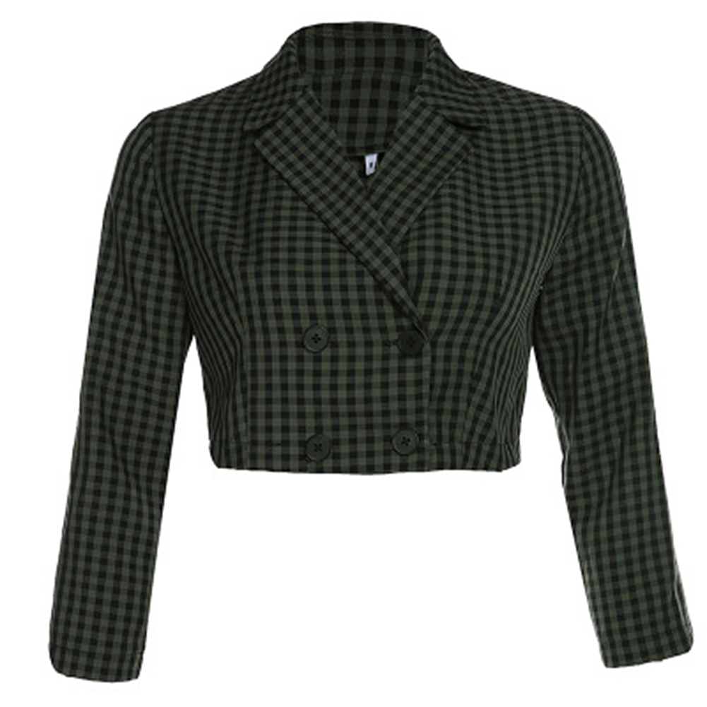 2019 New Women Plaid Blazers Crop Top Jacket Ladies Autumn Sexy Casual Double Breasted Blazers Top Basic Office Clothes