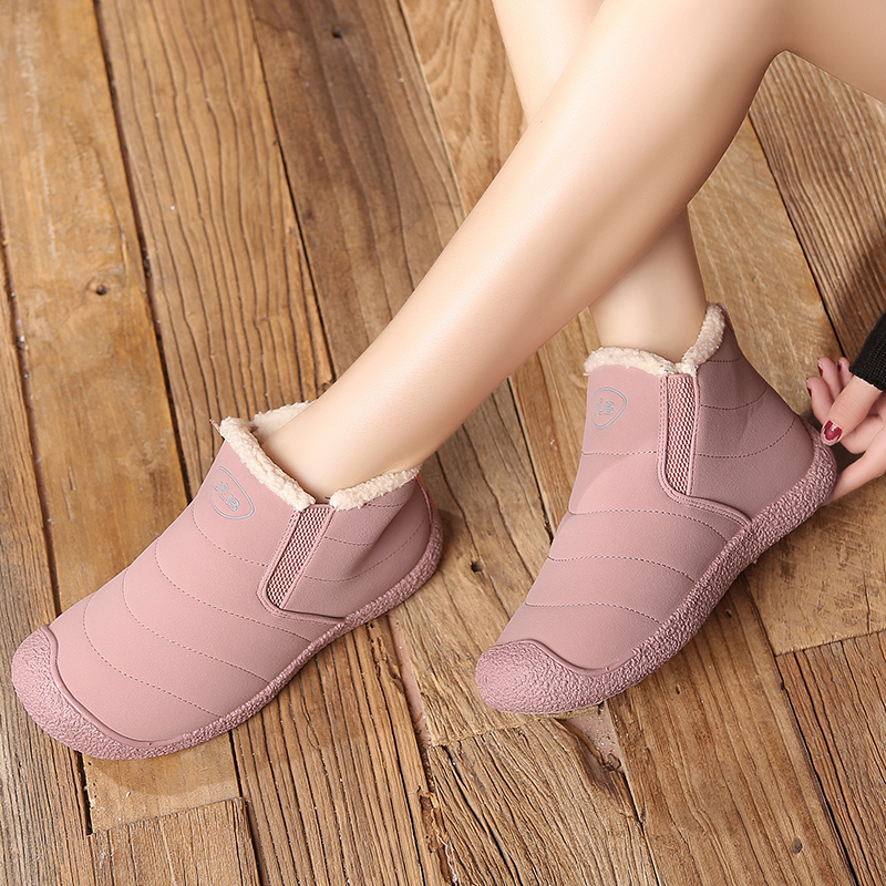 Waterproof Snow Boots Women Fur Lined Outdoor Winter Shoes Lightweight Slip on Ankle Booties Ladies Cold Weather Shoes image