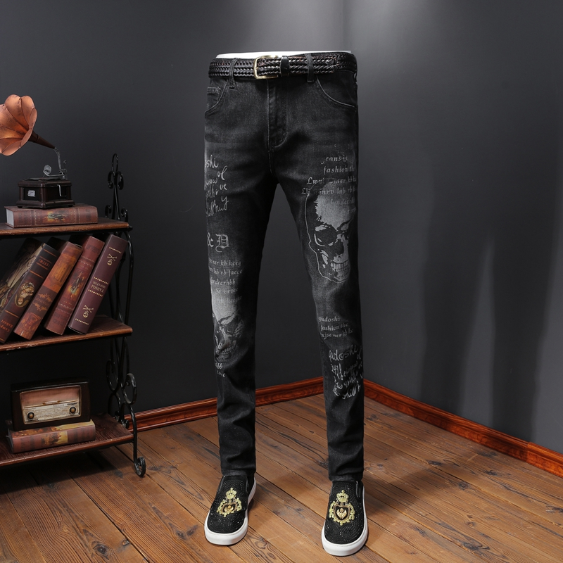 Brand Casual Straight Jeans Men Skull Print Jeans Homme Slim Fit Cotton Denim Pants High Quality Skinny Ripped Jeans For Men