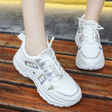 Women Chunky Sneakers Platform Shoes Lace Up Vulcanize Womens Female Trainers Dad Bling White Ladies