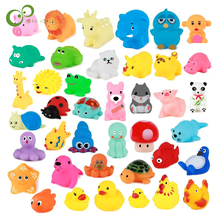Jouets de bain pour bébé, 10 pièces/ensemble, animaux doux flottants en caoutchouc, à son, à presser, GYH