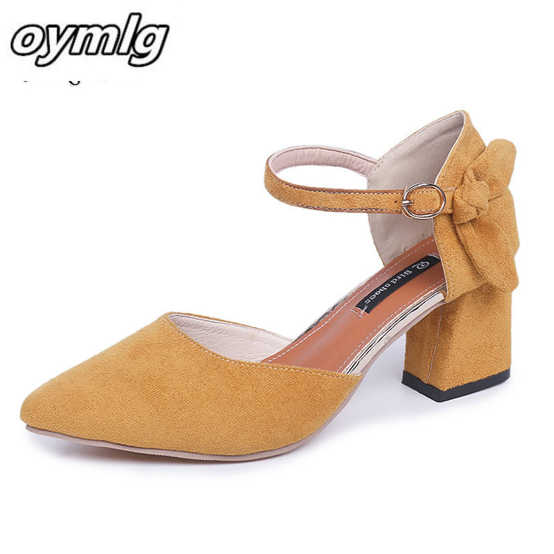 Pointed Sandals Thick With Baotou Korean Version Of The Summer 2019 New Wild Women's Shoes With High Heel Suede Shoes Women F002