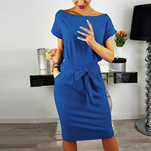 Woman Dress Bandage Robe Short-Sleeve Pocket Office Ladies Tie-Up Evening-Party Hight