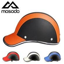 Mosodo мотоциклетная полушлемная Кепка ABS+ PU Мужская Женская бейсбольная электрическая велосипедная противоуф Защитная жесткая шляпа для шлема