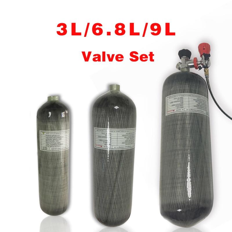 Acecare Scuba Tank  3L/6.8L/9L Pcp Paintball Air Tank HPA Carbon Fiber Cylinder For Diving Pcp Rifle