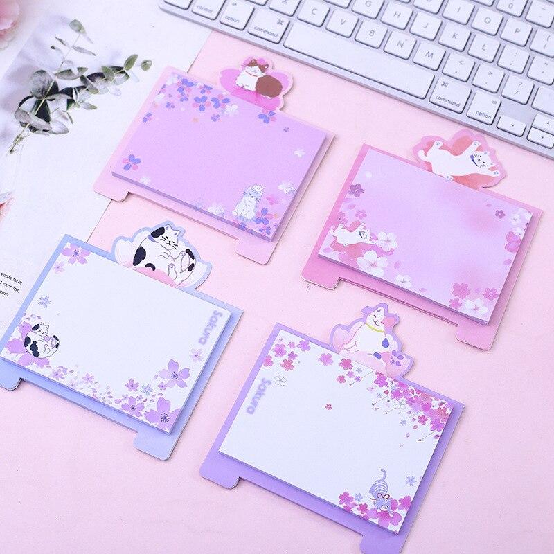 Cherry Sakura Active Cat Vertical Tape Memo Pad N Times Sticky Notes Escolar Papelaria School Supply Bookmark Label
