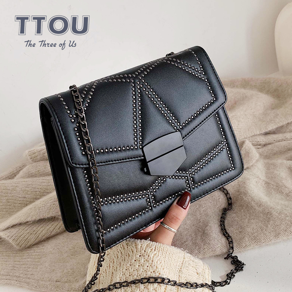 Vintage Small Crossbody Bags For Women PU Leather Ladies Rivets Messenger Bags Famous Brand Designer Travel Mini Luxury Bags