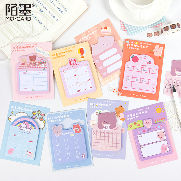 30 Sheets Lovely Cute Unicorn Bear N Times Note Bookmarker Sticky Notes Memo Note