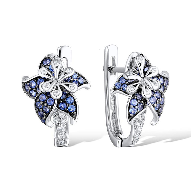 Fashion Jewelry Silver Earrings For Woman Charm Elegant Flower Blue Cubic Zirconia Vintage Party Wedding Ear Stud Earrings