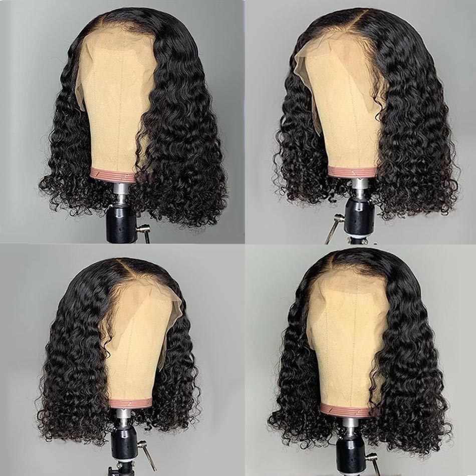 Ricci Veletta frontale Dei Capelli Umani Parrucca Tuneful 150% 13x4 Veletta frontale Parrucca Corta Ricci Bob Parrucche Pre Colto Malese di Remy capelli
