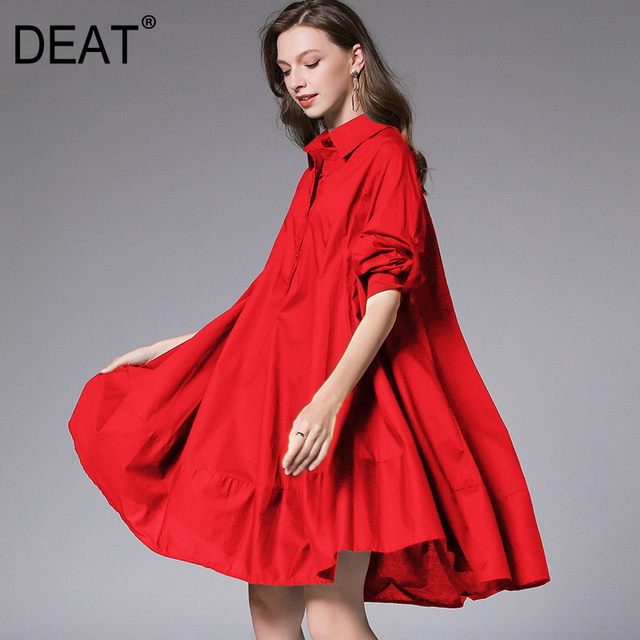 DEAT 2021 New Fashion Casual Oversized  Women's Shirt Dress Loose Wild Button Lapel Collar Full Sleeve Slim Clothes AQ744 2