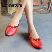 Ladies Shoes Women Johnature Flower Spring Round-Toe Slip-On Genuine-Leather Casual Shallow